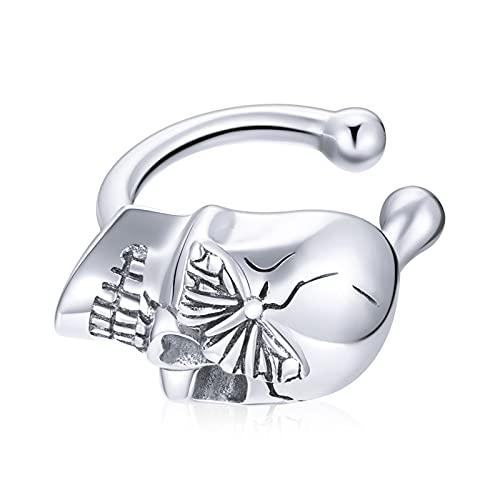 HMMJ Clip de Oreja Falso Piercing, Plata de Ley 925 Calavera y Mariposas Clip sin Piercing en Pendientes de cartílago para Mujeres niñas