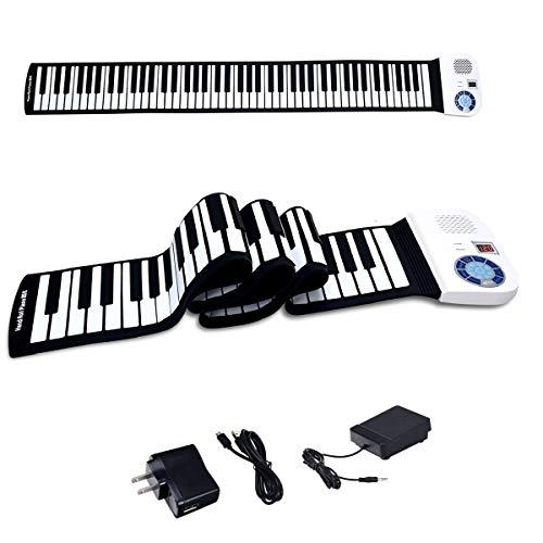 BABY JOY 88 Keys Roll Up Piano, Upgraded Electronic Piano Keyboard, Portable Piano w/Bluetooth, MP3 Headphone USB Input, MIDI OUT, 128 Rhythms, Record, Play, Volume Control (White, 88Keys)
