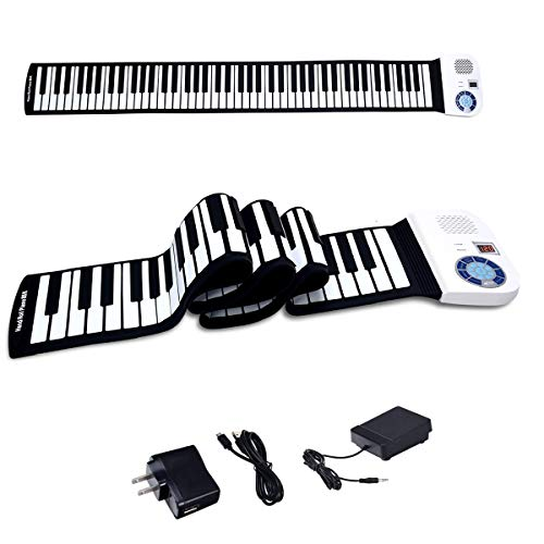 BABY JOY 88 Keys Roll Up Piano, Upgraded Electronic Piano Keyboard, Portable Piano w/Bluetooth, MP3 Headphone USB Input, MIDI OUT, 128 Rhythms, Record, Play, Volume Control (White, 88Keys)