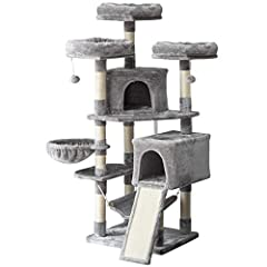 A PERFECT HOME: 2 spacious condo 1 basket provide a wider and more comfortable space to rest. 3 top perches platforms with raised edging allow more safety for cats to enjoy the feeling of the top of the world while resting, a cozy hammock, 3 interact...