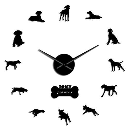 YQMJLF Reloj Pared DIY 3D Grande Reloj Pared silencioso Perro Puntero Raza Perro Deportivo Pelo Corto DIY Puntero Reloj Grande Puntero Pelo Corto Pegatinas Arte Pared Perro Negro