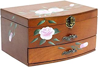 European Style Solid Wood Jewelry Storage Box Jewelry Display Box (Color : Brown)