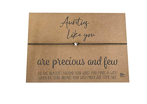 Dios Designs Simple Wish Bracelet -Aunties Like You are Precious and Few Choice of White Card, Kraft Card, Gold or Rose Gold Foil DD1050 (Kraft Card)