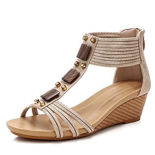 NFRADFM Zapatos de tacón Peep Toe con Tiras de Las Mujeres de...