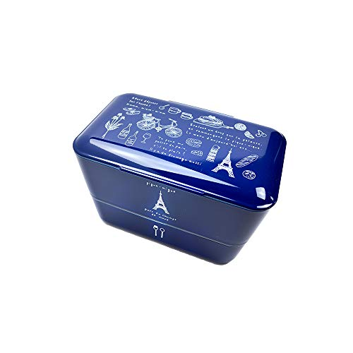 TAKENAKA Made in Japan Original Bento Box Lunch Box I Boîte Repas avec 2 Compartiments I sans BPA I Convient au Micro-Ondes et Lave-Vaisselle I Illustration Paris version Navy
