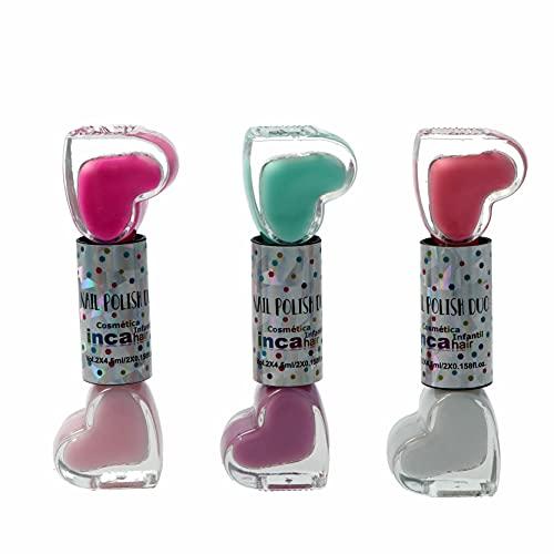 INCA. Set de 6 Pintauñas Niñas lavable con agua. Fácil de eliminar lavando las manos. Esmalte de uñas no tóxico.Incluye 6 esmaltes base agua en colores pastel