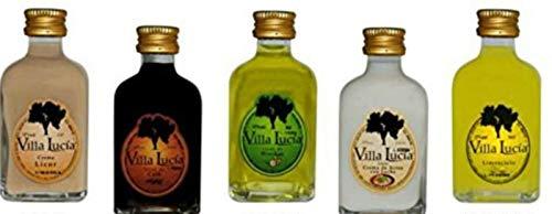 Lote de 25 Botellas de Licor Mini Villalucia (Sabores Surtidos). Detalles de Bodas y Eventos. 8 cm. - 5 cl
