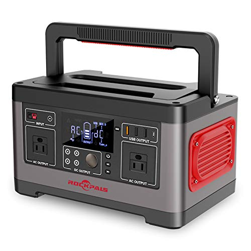 ROCKPALS Portable Power Station 500W, 520Wh CPAP Backup Lithium Battery Pack Camping Powered Solar Generator with 110V AC Outlet, QC 3.0 USB, Type-C Port for Outdoor Camping, Home Emergency UPS Power Supply
