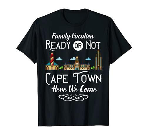 ケープタウン南アフリカシティスカイラインマップ旅行 Tシャツ