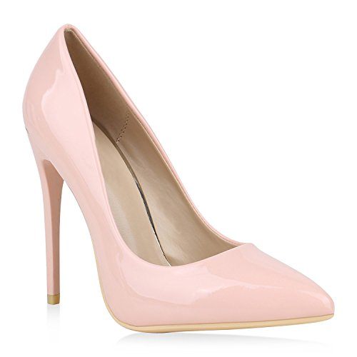 Spitze Damen Pumps Lack High Heels Stilettos Klassische Schuhe 152912 Rosa 39 Flandell