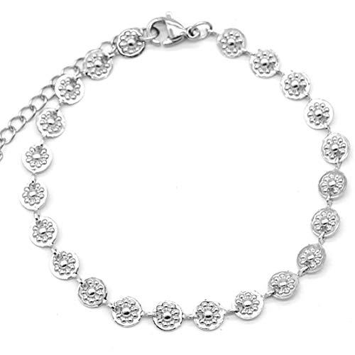 Dielay Pulsera para mujer con monedas y flores, de acero inoxidable, longitud ajustable, 16-19 cm, color plateado