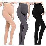 LOVELYBOBO 3 Pack Las mujeres embarazadas maternidad medias pantalones Leggings opaco medias 320Denier (negro + desnudo + gris)