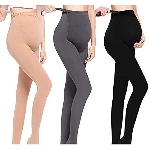 LOVELYBOBO 3 Pack Damen Umstandskleidung Leggings Strumpfhosen Blickdichte Winter-Schwangerschafts-Umstands-Strumpfhose in 320 DEN mit dehnbarem Baucheinsatz