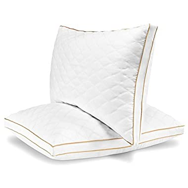 Italian Luxury Quilted Pillow (2-Pack) - Hotel Quality Plush Gel Fiber Filled Pillow with a quilted cover and sateen piping - Hypoallergenic & Dust Mite Resistant - King