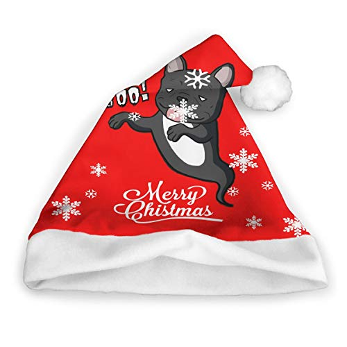 Halloween Ghost Boo Black French Frances Bulldog Dog Gift Merry Christmas Snowflake Xmas Costume Cap Santa Claus Hat Ornament Novelty Fancy for Party Pack Top Matching Beanie Set Decorations