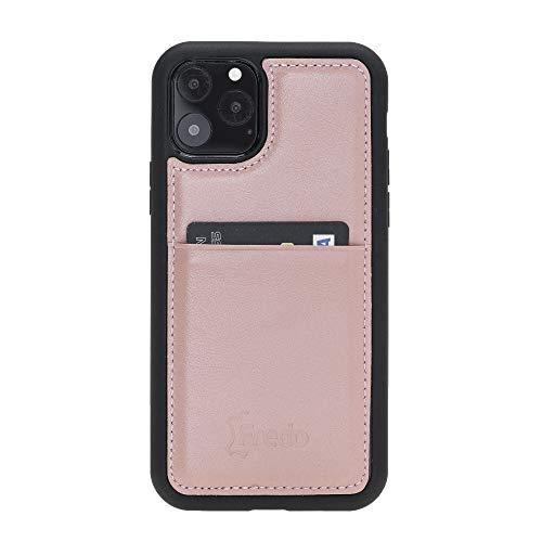 FREDO Funda de piel compatible con iPhone 11 Pro de 5,8 pulgadas, Reflex, ultrafina, con tarjetero, para Apple iPhone 11 Pro, hecha a mano, color rosa