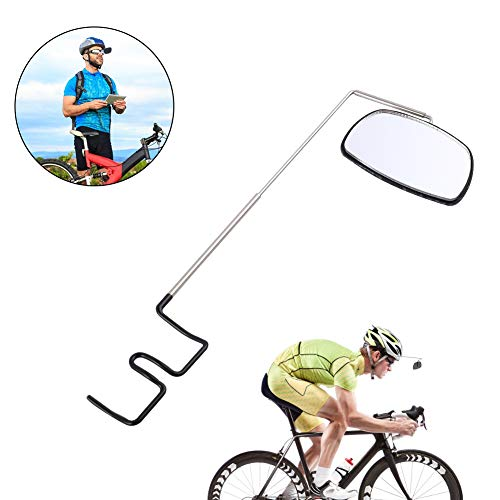 PChero Bike Glasses Mirror, 360 Degree Adjustable Wide Angle Bicycle Rear View Flat Mirror for Mountain Road Cycling Safe