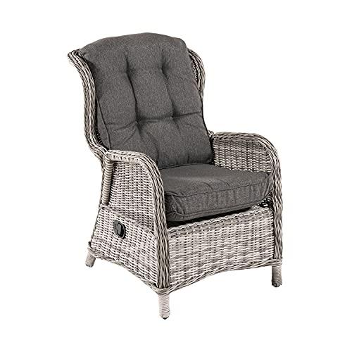 Sillón reclinable para jardín, Aluminio y rattán sintético Redondo, Gris, Tamaño:64x80x105 cm