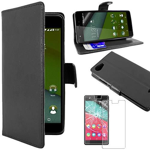ebestStar - kompatibel mit Wiko Pulp 4G Hülle Kunstleder Wallet Hülle Handyhülle [PU Leder], Kartenfächern, Standfunktion, Schwarz + Panzerglas Schutzfolie [Phone: 143.9 x 72 x 8.8mm, 5.0'']