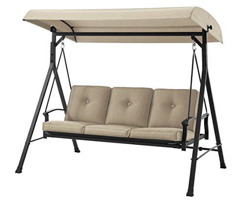 Mainstay 3 Seat Porch & Patio Swing (3-Porch Swing, Tan)