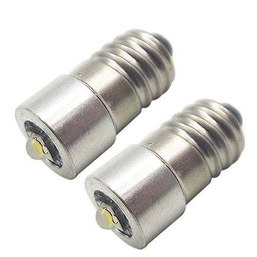 Ruiandsion Bombillas LED de repuesto para linterna E10 con base CC 3-24 V CREE LED de repuesto para linternas de 2 a 16 celdas, C&D, linterna de trabajo o bicicleta (paquete de 2)