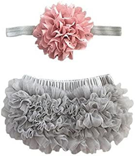 Ruffle Bloomer & Lace Flower Infant Headband, Pink, Size Newborn