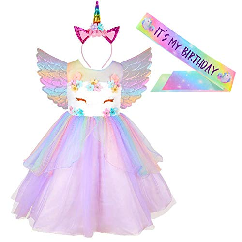 ICOSY Unicorn Dress for Girls Birthday Party Dress Unicorn Costume Tutu Princess Dress Outfit with Headband, Wings, Sash Purple