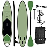 ToCi - Tabla de surf de remo hinchable XL, con mochila y pala telescópica de aluminio (320 x 76 x 15 cm, incluye bomba de 2 vías), verde