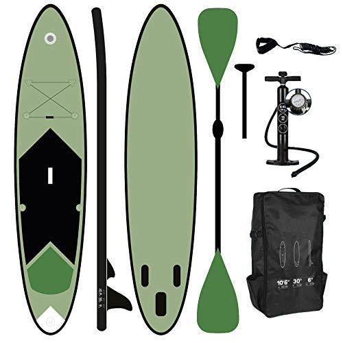 ToCi Standup Paddeling Board XL Grün   320 x 76 x 15 cm aufblasbares Surfbrett   mit Trage Rucksack und Teleskop Alu Doppel-Paddel   inklusive 2 Wege Pumpe