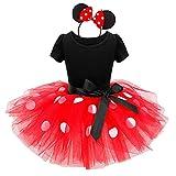 Minnie Costume Baby Girl Dress Mouse Ear Headband Polka, Red, Size 120(4 Years)