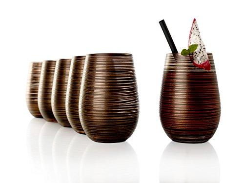 Stölzle Lausitz Becher Twister, 465 ml, 6er Set, in schwarz (matt) und Bronze, universell einsetzbar, für Wasser, Säfte, Cocktails, Wein, Windlicht, Vase, spülmaschinenfest