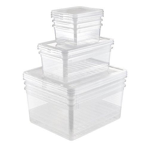 keeeper Aufbewahrungsboxen mit Air Control System, 8-teiliges Set, 3x 1,7 l, 2x 5,6 l, 3x 18 l, Bea, Transparent