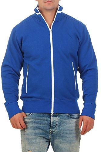 Happy Clothing Herren Sweatjacke sportlich ohne Kapuze - gestreifte Trainingsjacke - Sweatshirtjacke - Zip-Jacke Reißverschluss mit Kragen, Größe:XL, Farbe:Blau