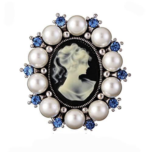 DGQY Vintage Cameo Blue Rhinestone Brooch Pin for Women Ladies Jewellery