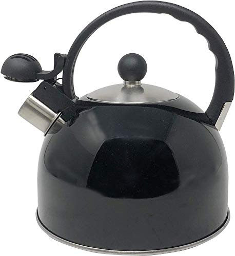 Whistling Stovetop Tea Kettle- Stainless Steel Tea Kettle- Tea Pot Serves up to 10.5 Cups- with Cool Grip Ergonomic Handle- Rust Resistant 2.5 Liter Stovetop Kettle- by Millennium (Black)