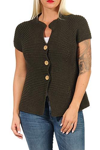 Malito Damen Strickweste mit Knöpfen | Cardigan im eleganten Design | Oversize Look - Weste - Jacke- Strickjacke 5060 (Oliv)