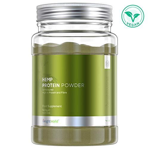 Proteine Vegetali di Canapa in Polvere 500g - Aumento Massa Muscolare e Migliora le Prestazioni in Allenamento - Benessere e Vitalità - 9 Aminoacidi Essenziali, Omega 3, 6 e 9 - Vegano - WeightWorld