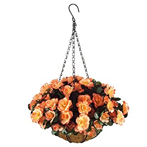 Silk Flower Arrangements Mynse Set of Hanging Basket Artificial Azalea Flower Hanging Planter with ChainOutdoor Decoration