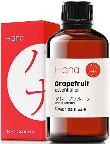 Hana Grapefruit Essential Oil - Boosts Energy and Curbs Unhealthy Cravings - Achieve Fit Goals with Essential Oils Grapefruit - 100 Pure Therapeutic Grade Grapefruit Oil for Aromatherapy - 30ml