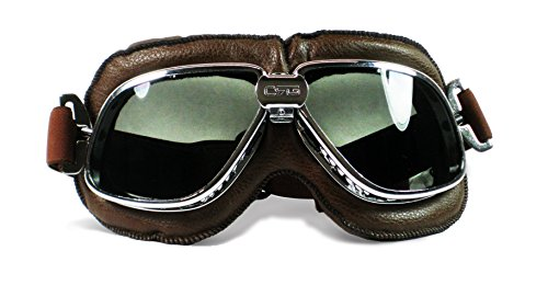 Vintage Helmet Goggles,Steampunk Sunglass Eyewear Pilot Aviator Goggles Suitable for Fancy Dress Harley Motocross Racer Outdoor Sports and Skiing Silver Frame- Brown Len
