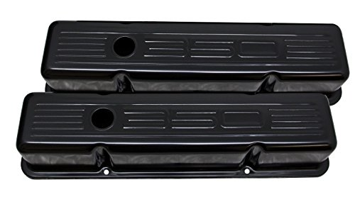 Price comparison product image 1958-86 Compatible / Replacement for CHEVY SMALL BLOCK 350 SHORT STEEL VALVE COVERS - EDP BLACK W / 350 LOGO