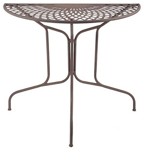 Esschert Design Table en métal Demi-Ronde