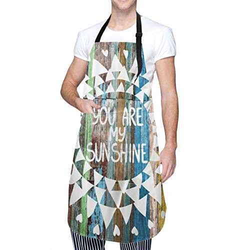 SUDISSKM Delantal,Frases de amor rústicas Eres mi sol en tablones de madera Luces solares,Unisex Delantales de Cocinero para Restaurante Barbacoa Cocinar Hornear 84x70cm