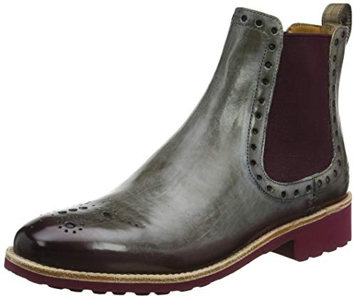 MELVIN & HAMILTON MH HAND MADE SHOES OF CLASS Damen Amelie 8 Chelsea Boots, Braun (Brown Crust-Morning Grey (Shade Deep Pink)-Elastic-Burgundy-Lining-Rich Tan-Insole Leather-Rooko D-Burgundy), 42 EU