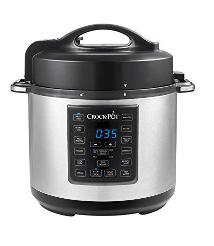 Crock-Pot Express Crock Multi-Cooker | Slow Cooker, Sauté, Pressure Cooker, Rice Cooker & Food Steamer | 5.7L (4-6 People) | Removable Non-Stick Bowl | CPE200