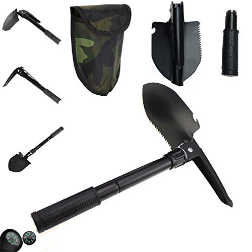 OUTLANDWAY Survival Shovel, Folding Shovel, Small Shovel, Military Shovel for Camping, Hiking, Outdoor
