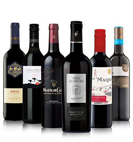 """Probierpaket """"Rotwein Exploration Pack""""  Weinpaket mit sechs verschiedenen Flaschen Rotwein aus aller Welt (6 x 0,75 l)   Ideales Wein Tasting-Set"""