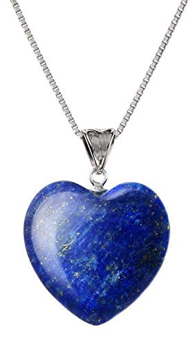 You are My Only Love Natural Lapis Lazuli Gemstone Large Heart Pendant Necklace Healing Crystals Reiki Chakra Gem Stone 18 Inch GGP8-2