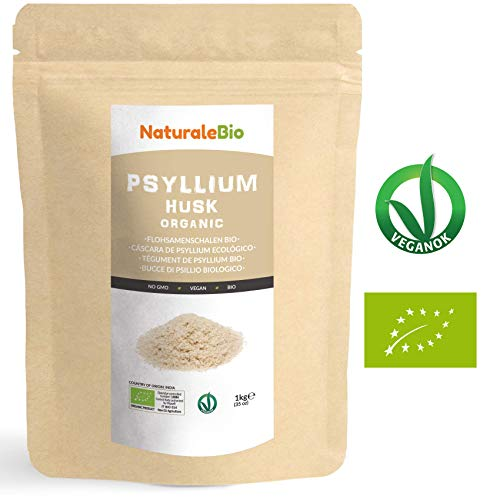 Tégument de Psyllium Blond BIO [Pureté 99%] de 1Kg | Psyllium Husk AB, Naturel et Pur | 100% Cosses de Graines de Psyllium Indien | Riche en fibres, à consommer dans l'eau, boissons ou jus.