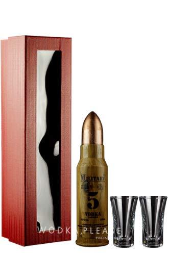 Geschenkidee Dębowa Military Mini + hochwertige Gläser in Geschenkverpackung   Sammlerstück   Polnischer Wodka   1 x 40%, 0,05 Liter